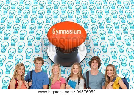 The word gymnasium and smiling students all geared up for college against orange push button
