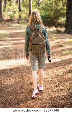 Blonde hiker hiking on path in the nature