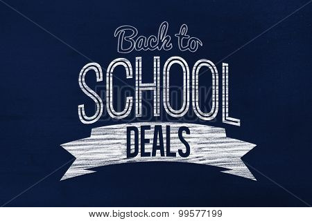 Back to school deals message against navy blue