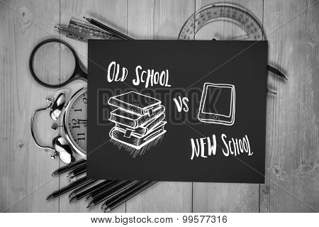 Old school vs new school doodle against students desk with black page