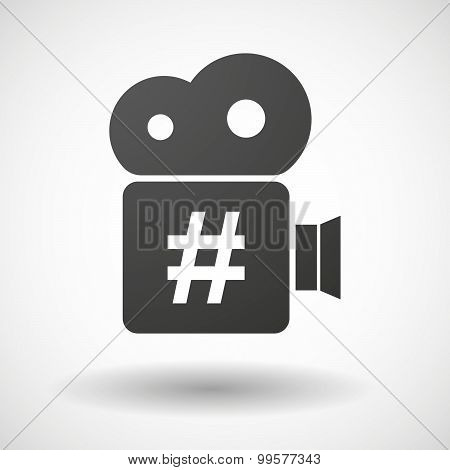 Cinema Camera Icon With A Hash Tag