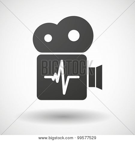 Cinema Camera Icon With A Heart Beat Sign
