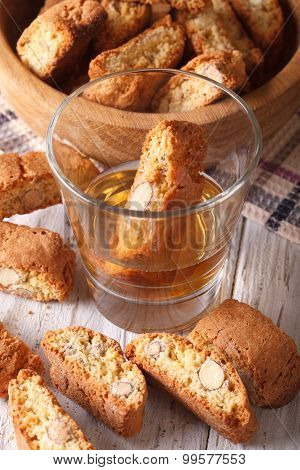 Cookies Almond Biscotti And Vin Santo Wine, Close-up. Vertical
