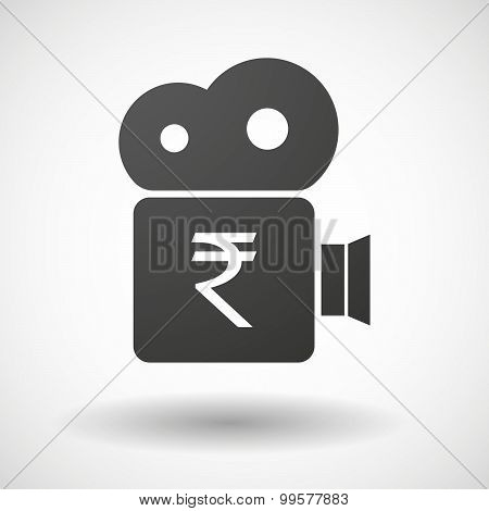 Cinema Camera Icon With A Rupee Sign