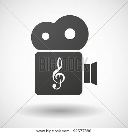 Cinema Camera Icon With A G Clef