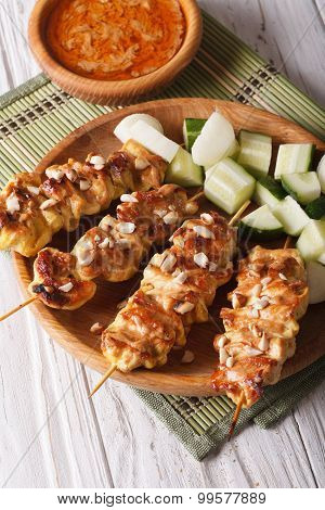 Chicken Satay With Peanut Sauce And Fresh Salad. Vertical