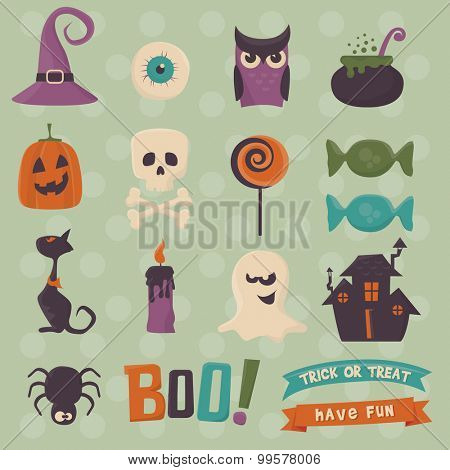 Halloween icons set. Each icon is on separate layer.