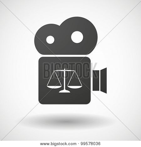 Cinema Camera Icon With A Justice Weight Scale Sign