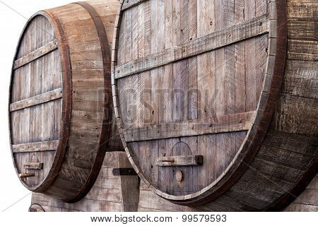 Oak Barrels In A Winery, Brewery Or Distillery