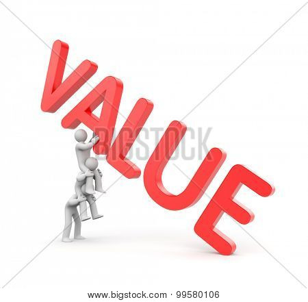 Two person with VALUE 3d text