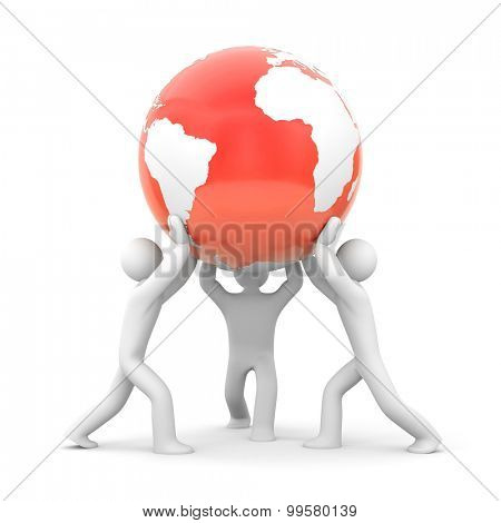 People hold red globe(red - danger)