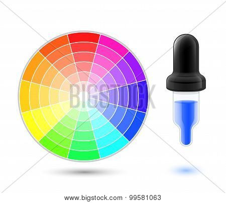 Vector Color Wheel Palette And Dropper Icon