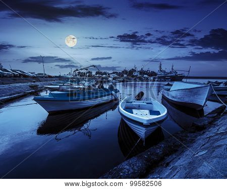 Fishing Boats In Port Of Sozopol At Night