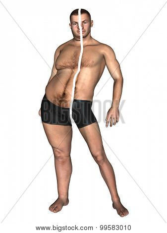 Concept or conceptual 3D fat overweight vs slim fit with muscles young man on diet isolated on white background