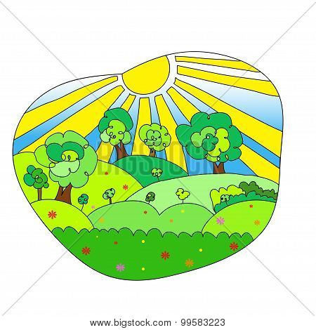 Hand drawn landscape with agrarian fields.