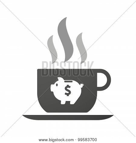 Cup Of Coffee Icon  With A Piggy Bank