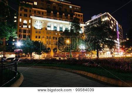 Walkway And Buildings At Night, At Farragut Square, In Washington, Dc.