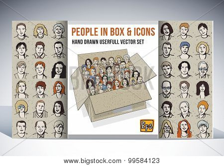 People in box and icons faces set