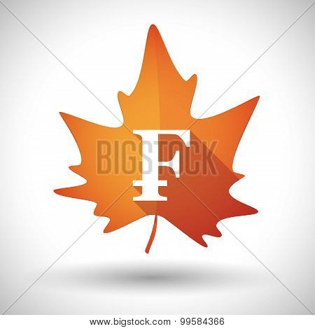 Autumn Leaf Icon With A Swiss Franc Sign