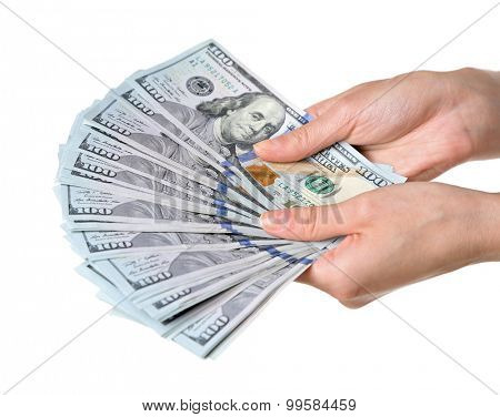 Female hands holding dollars isolated on white