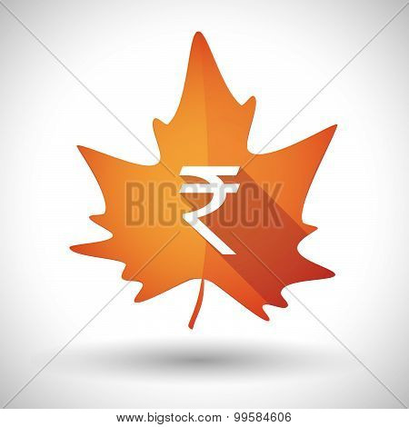 Autumn Leaf Icon With A Rupee Sign