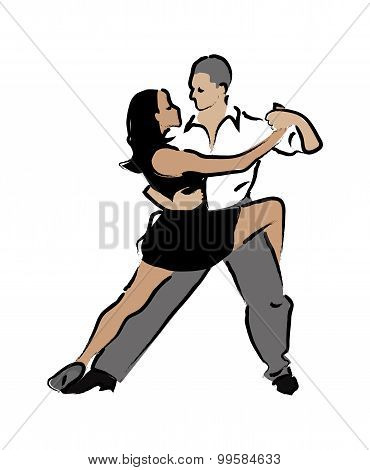 Abstract Vector Illustration Of Dancing Couples