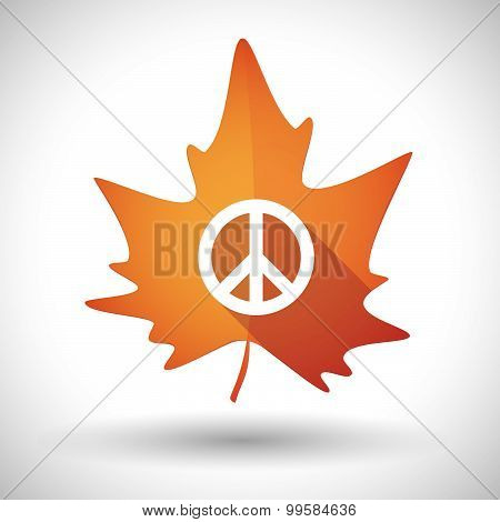 Autumn Leaf Icon With A Peace Sign