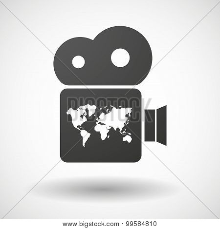 Cinema Camera Icon With A World Map