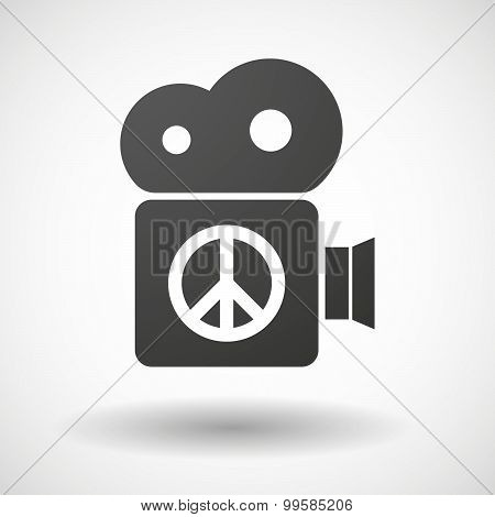 Cinema Camera Icon With A Peace Sign