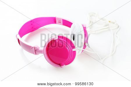 Pink headphones isolated on white