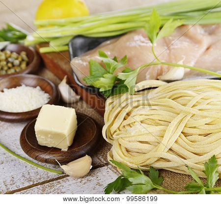 Cooking Ingredients With Chicken Fillets And Pasta