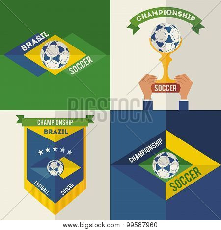 Set Of Flat Design Brazilian Soccer Labels