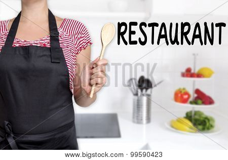 Restaurant Cook Holding Wooden Spoon Background