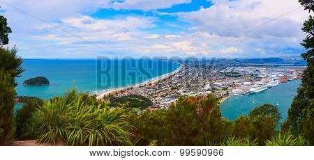 Aerial view of Tauranga town from the Mount Maunganui. Tauranga, New Zealand