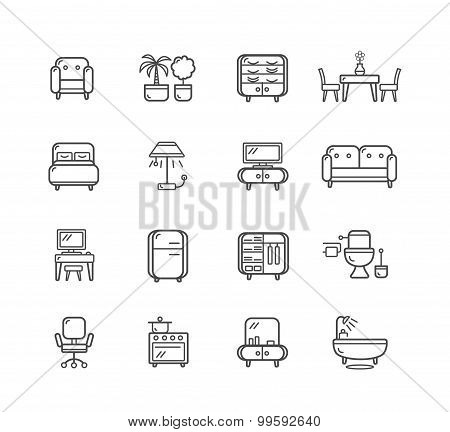 Flat Line Icons Furniture. Vector