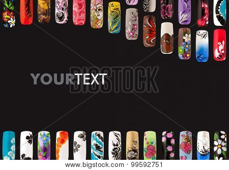 Nail Art Handmade Colorful Nails Isolated A Black Background Poster