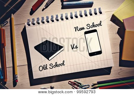 old school vs new school against students desk