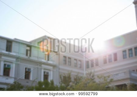 Large building against sunny sky in the city