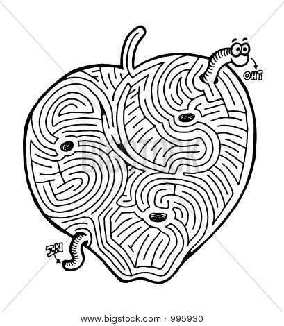 Apple With Worm Maze