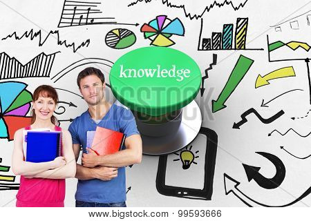 The word knowledge and two students both with notepads against digitally generated green push button
