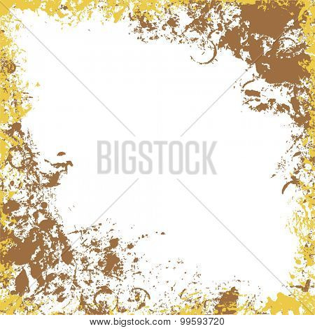 Grungy square frame in gold and brown colors. Ink vector collection.