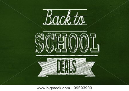 Back to school deals message against green