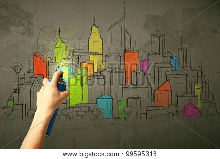 Hand drawing colorful city  on the wall