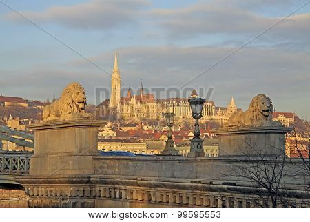 View From Szechenyi Chain Bridge On Matthias Church, Budapest, Hungary