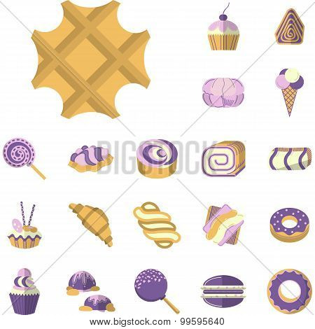 Colored vector icons for desserts