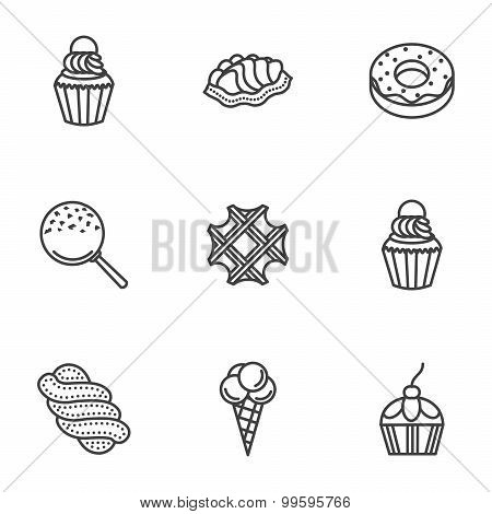 Sweet desserts line vector icons