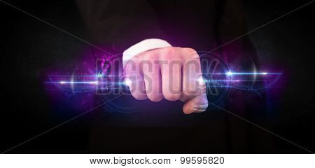 Business man holding future technology data system network concept