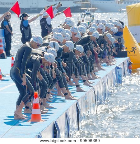 The Woman Competitors Concentrated Before The Start Signal