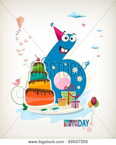 Sixth Birthday Card.