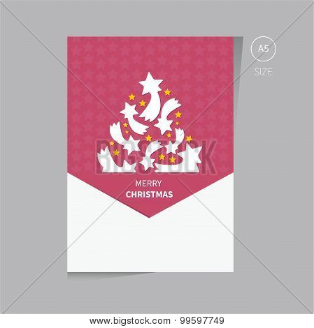 Christmas Tree Brochure Flyer Design Template Size A5